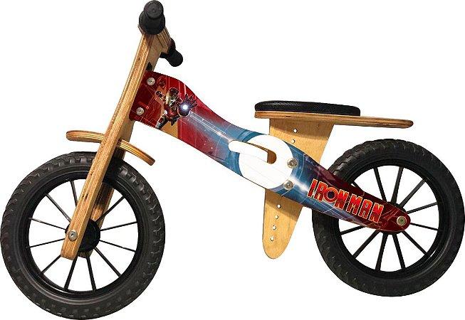 Bicicleta Infantil De Madeira Aro 12 - Iron Man
