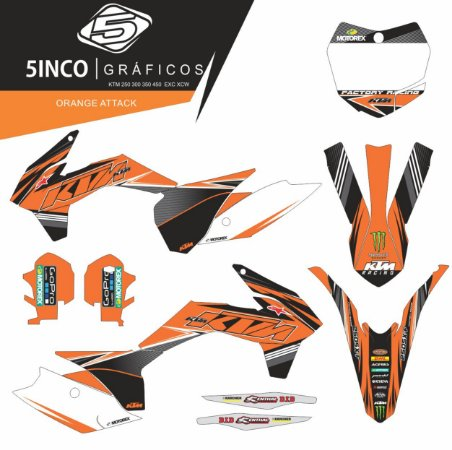 Kit Adesivo 3M  Orange Attack KTM 350 SXF 2013