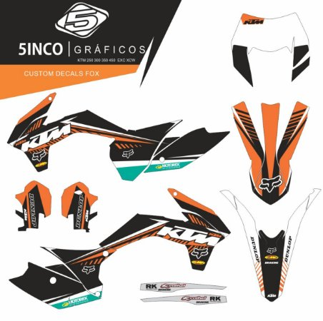 Kit Adesivo 3M Custom Decals Fox KTM EXC 300 2018 KTM 2017