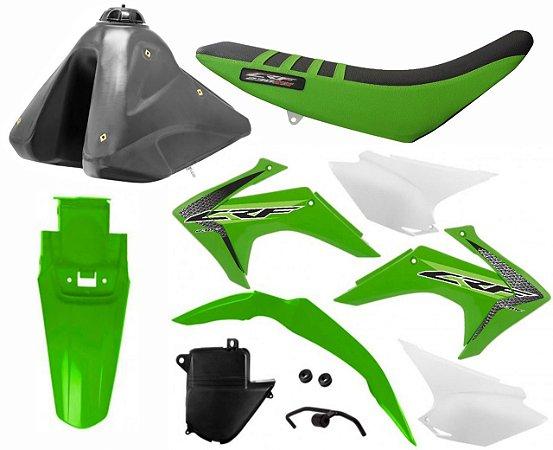 Kit Plastico Crf 230 2019 Protork Verde Adaptável Xr 200