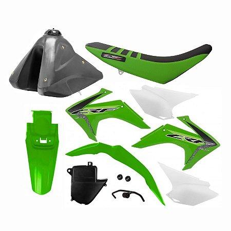 Kit Plástico CRF 230 F 2015 a 2020 Protork Verde Adaptável Xr 200