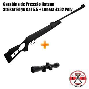 Carabina de Pressão Hatsan Striker Edge 5,5mm + Luneta 4x32 Poly