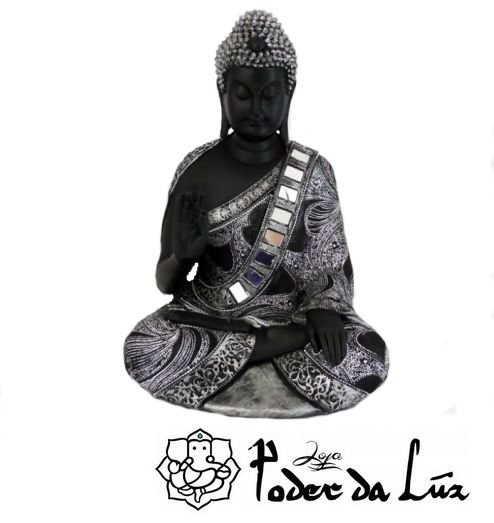 Buda da Proteção (Karana Mudra) Preto e Prateado 30cm
