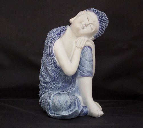 Buda da Harmonia Azul e Branco 23cm
