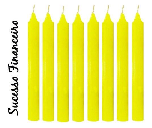 Vela Palito Amarela (maço 8 unidades)