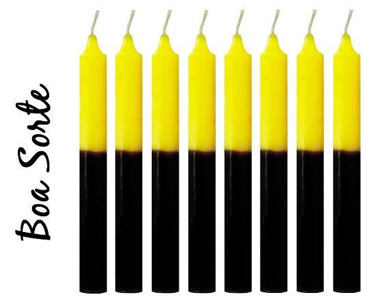 Vela Palito Bicolor Preta e Amarela (maço 8 unidades)