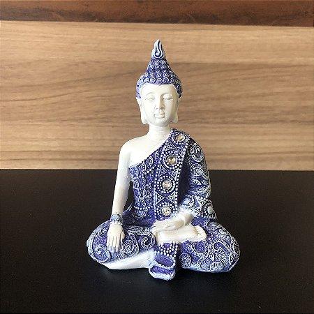 Buda da Iluminação (Bhumisparsha Mudra) Azul e Branco 11cm