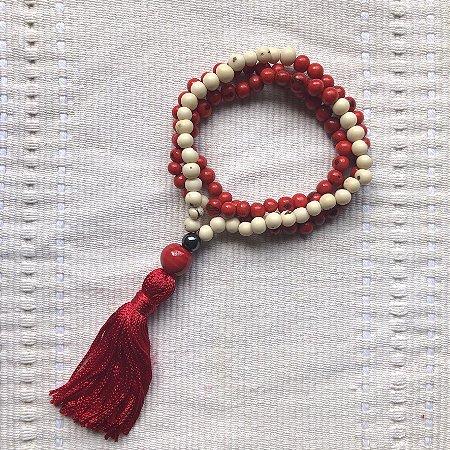 Japamala Semente de Açaí Branco e Vermelho, 108 Contas, 9mm