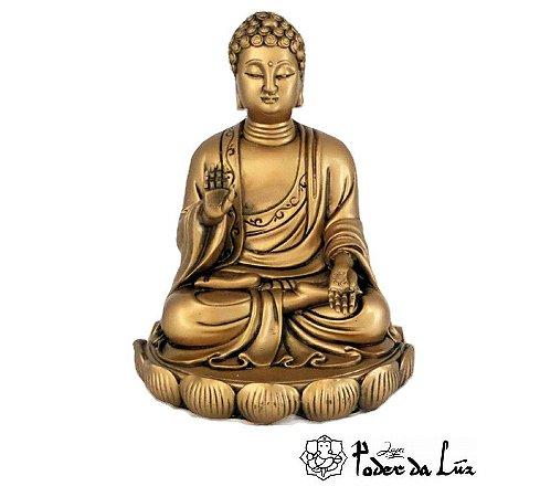 Buda Sakiamuni da Coragem (Abhaya Mudra) Dourado 16 cm
