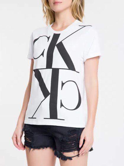 Calvin Klein Blusa Mc Slim Logo Branca - Bc361