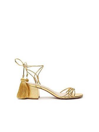 Schutz Sandália Block Heel Velvet Gold S2000105400003