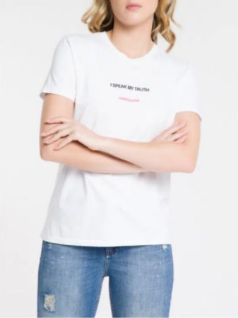 Calvin Klein Jeans T-Shirt Fem I Speak Branca BC371
