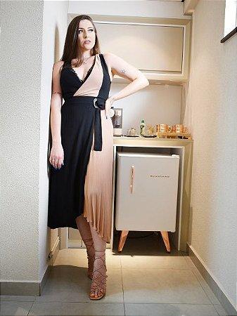Morena Rosa Vestido Transpassado Plissado 108515