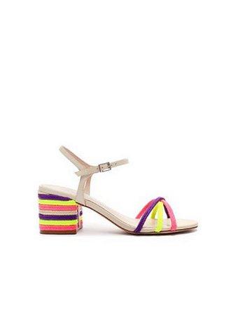 Schutz Sandália Block Heel Texture Fresh Pink/NeonS2000105790001