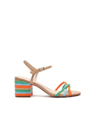 Schutz Sandália Block Heel Texture Fresh Orange / Blue S2000105790002