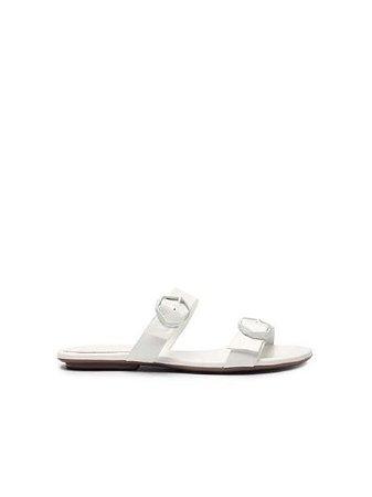 Schutz Flat Minimal Pop Buckle White S0109305140001