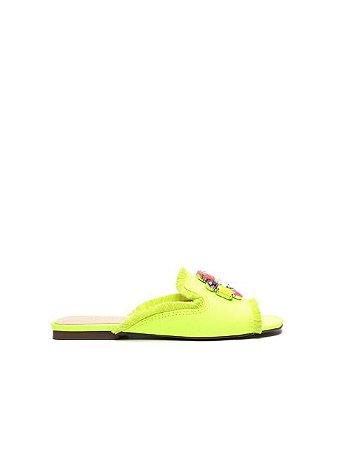 Schutz Flat Lona Glam Neon Yellow S2117500290001