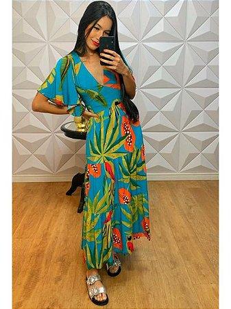 Vestido Longo Tropical Azul 31061