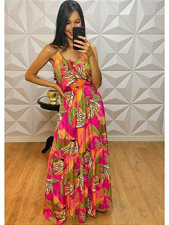 Vestido Longo Estampado Banana Pink 31064