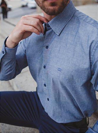 Camisa Casual Lisa Manga Longa Azul 120-19