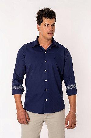 Camisa Casual Maquineta Manga Longa Azul 122-19