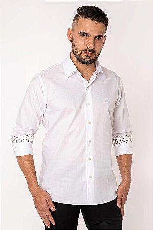 Camisa Casual Maquineta Manga Longa Branca 122-19