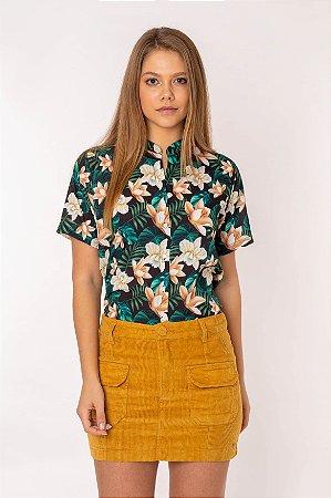 Camisa Feminina Estampada Manga Curta Preta 432-20