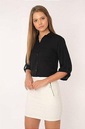 Camisa Feminina Lisa 7/8 Preta 434-20