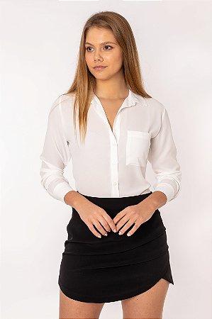 Camisa Feminina Lisa Manga Longa Off White 446-19