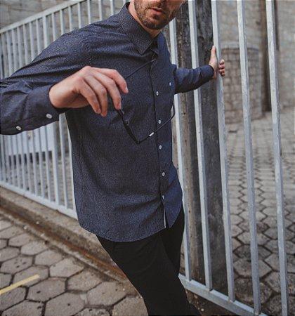 Camisa Casual Gravataria Manga Longa Grafite 832-19