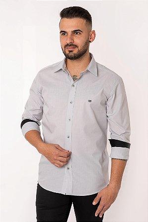 Camisa Slim Lisa Manga Longa Cinza 106-19