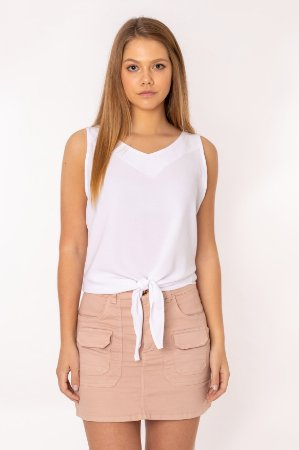Blusa feminina Lisa Sem Manga Branca 406-20