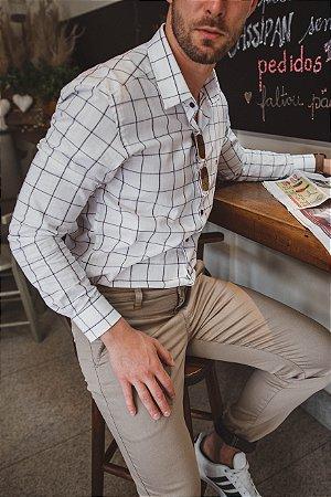 Camisa Slim Xadrez Manga Longa 600-20