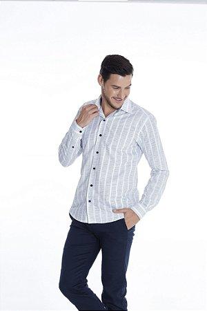 Camisa Slim Estampada Manga Longa 616-20