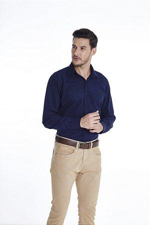 Camisa Confort Lisa Manga Longa Plus Size 671-20