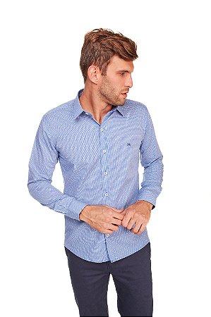 Camisa Slim Estampada Manga Longa Azul 108-19