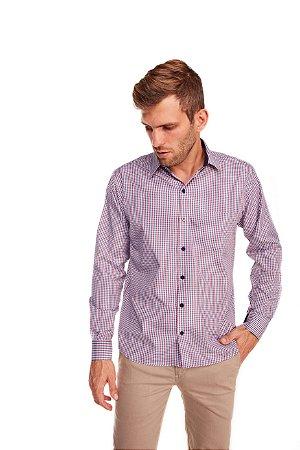 Camisa Confort Gravataria Plus Size  Vermelha M/L - 665-20