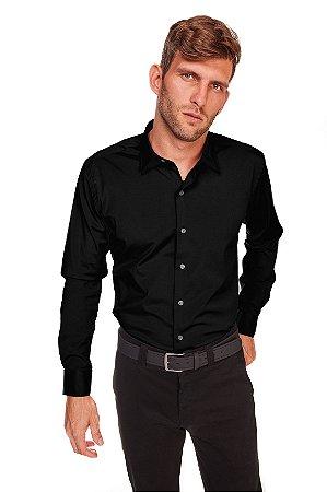 Camisasa Masculina Algodão Poliester e Elastano M/L Preta