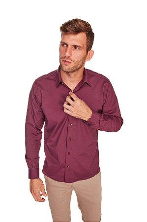 Camisa Casual Lisa Com Elastano Manga Longa bordo 330-20