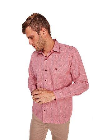 Camisa Casual Estampada Manga Longa Vermelha 632-20