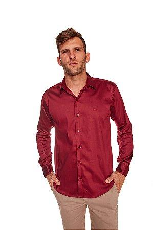 Camisa Slim Lisa com Elastano M/L Bordo 316-20