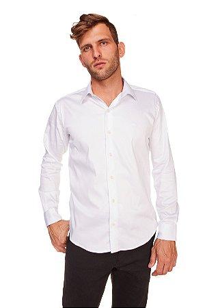 Camisa Slim Lisa com Elastano M/L Branca 612-20