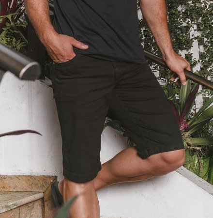 Bermuda Masculina Sarja Preta 4555