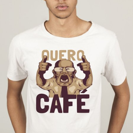 Camiseta Masculina Quero Café - Memes