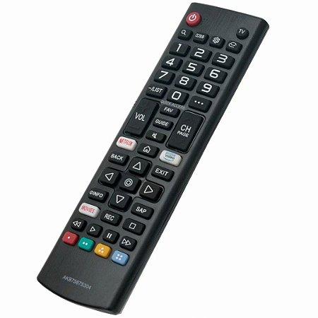 Controle Remoto Smart TV Lg AKB75675304 (linha Lm/um) Netflix, Prime Video e Movies TV