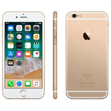 iPhone 6s Apple com 3D Touch, iOS 11, Sensor Touch ID, Câmera iSight 12MP, Wi-Fi, 4G, GPS, Bluetooth e NFC, 32GB, Dourado, Tela 4,7""