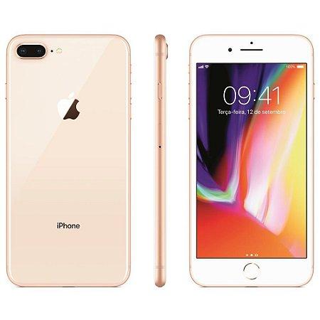 """iPhone 8 Apple Plus com iOS 11, Dupla Câmera Traseira, Resistente à Água, Wi-Fi, 4G LTE e NFC, 64GB, Dourado, Tela HD de 5,5"""""""