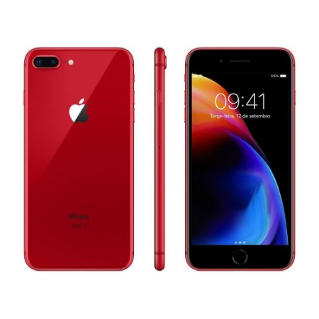 """iPhone 8 Plus Apple RED Special Edition, iOS11, Câmera Dupla 12MP, 64GB, Vermelho, Tela HD de 5,5"""""""