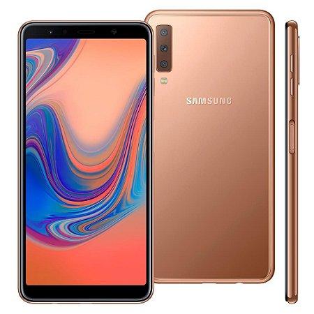 """Smartphone Samsung Galaxy A7 Cobre 64GB, 4GB RAM, Tela infinita de 6"""", Câmera Tripla 24MP+5MP+8MP, Câmera frontal de 24MP, Dual Chip, Android 8.0"""