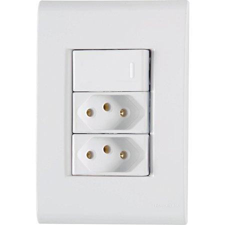 Interruptor Simples+2Tomada 2P+T 10A Liz - Tramontina